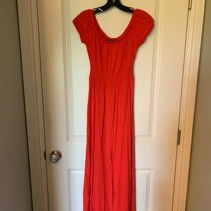 Coral off-shoulder maxi dress, S